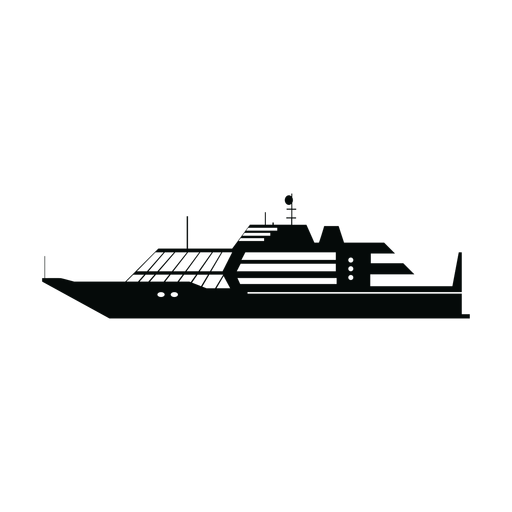 Luxury yacht ship silhouette Transparent PNG