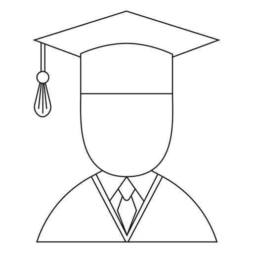 Male graduate avatar line Transparent PNG
