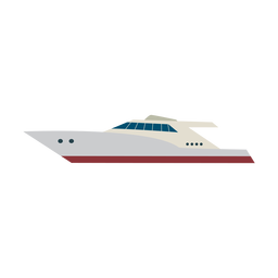 Icono de barco de yate a motor