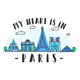 Paris heart skyline cartoon