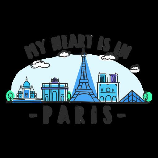 Desenho de horizonte de coração de Paris Transparent PNG