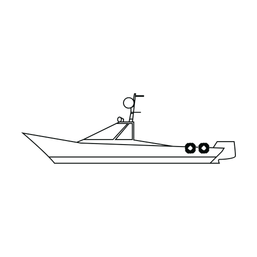 Runabout boat line Transparent PNG
