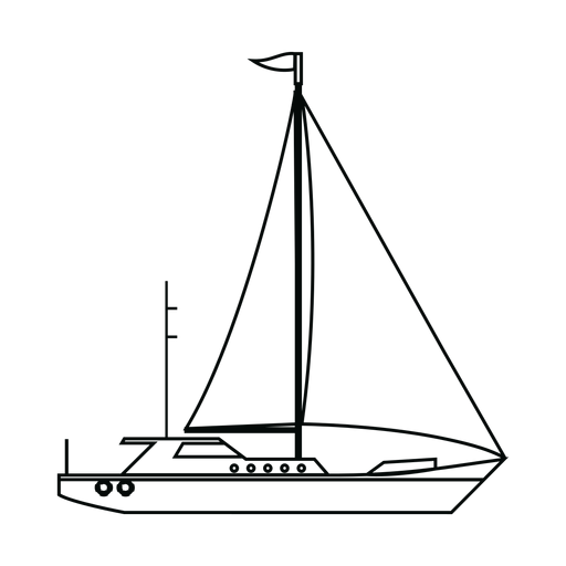 Sailing yacht ship line Transparent PNG