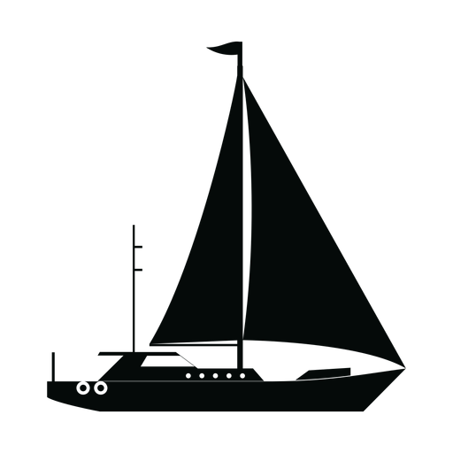 Sailing yacht ship silhouette Transparent PNG