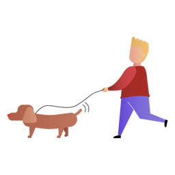 Son walking dog