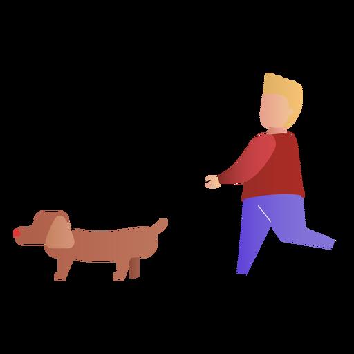 Son walking dog Transparent PNG
