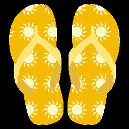 Sun pattern flip flops