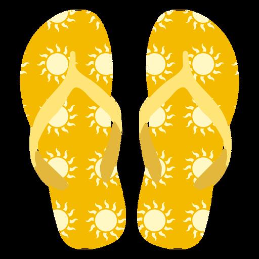 Sun pattern flip flops Transparent PNG