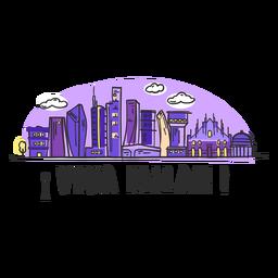 Desenhos animados da skyline de Viva Milão