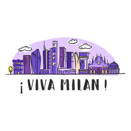 Viva milan skyline cartoon