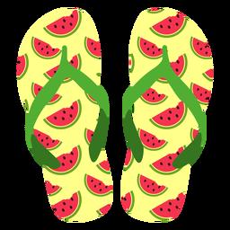 Fatias de melancia flip flops