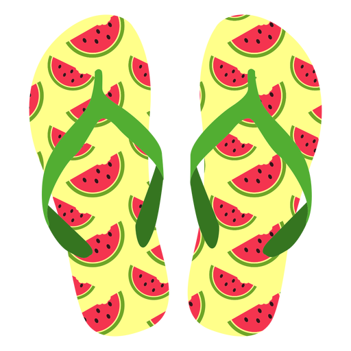 Watermelon slices flip flops Transparent PNG