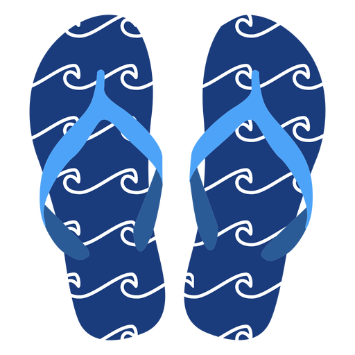 Waves pattern flip flops Transparent PNG
