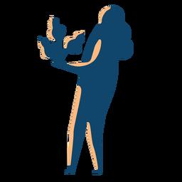 Frau, die Baumschattenbild hält