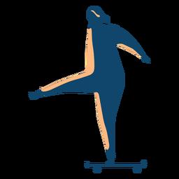 Mujer montando patineta silueta