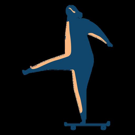 Silueta de mujer montando patineta