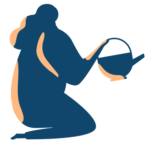 Woman watering silhouette Transparent PNG