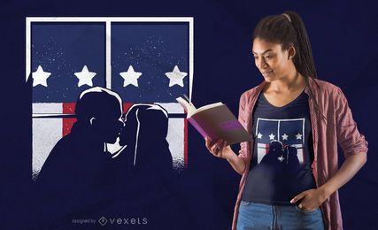 Projeto americano do t-shirt do beijo