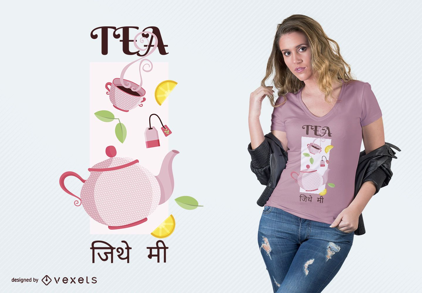 Design de camisetas de chá indiano