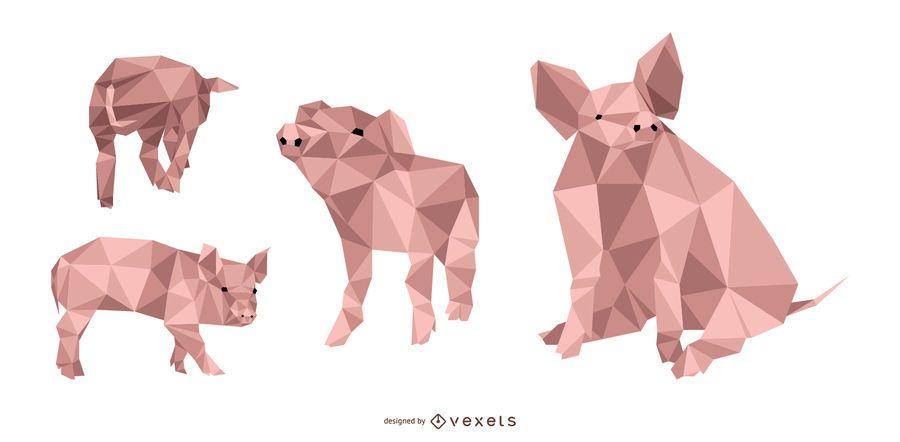 Cerdo Lowpoly Vect