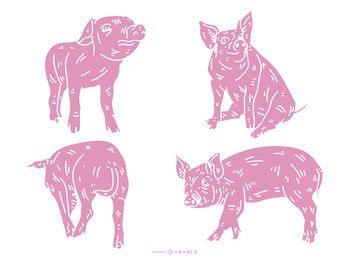 Schwein detaillierte Silhouette Set