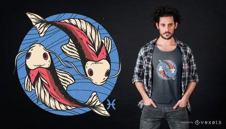 Fisch-Tierkreis-T-Shirt Entwurf