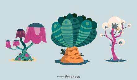 Conjunto de vectores de plantas de fantasía