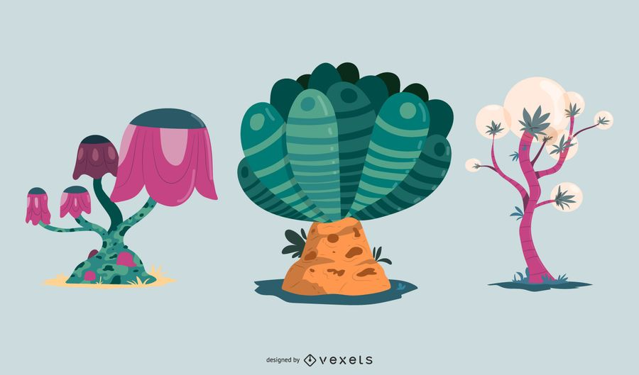Fantasy Plants Vector Set
