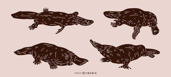 Platypus silueta detallada diseño