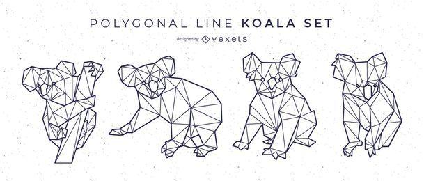 Conjunto de Koala de linha poligonal