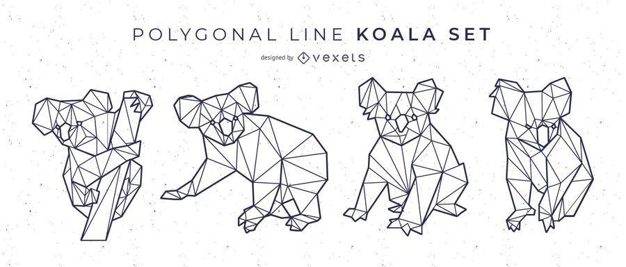 Polygonale Linie Koala Set