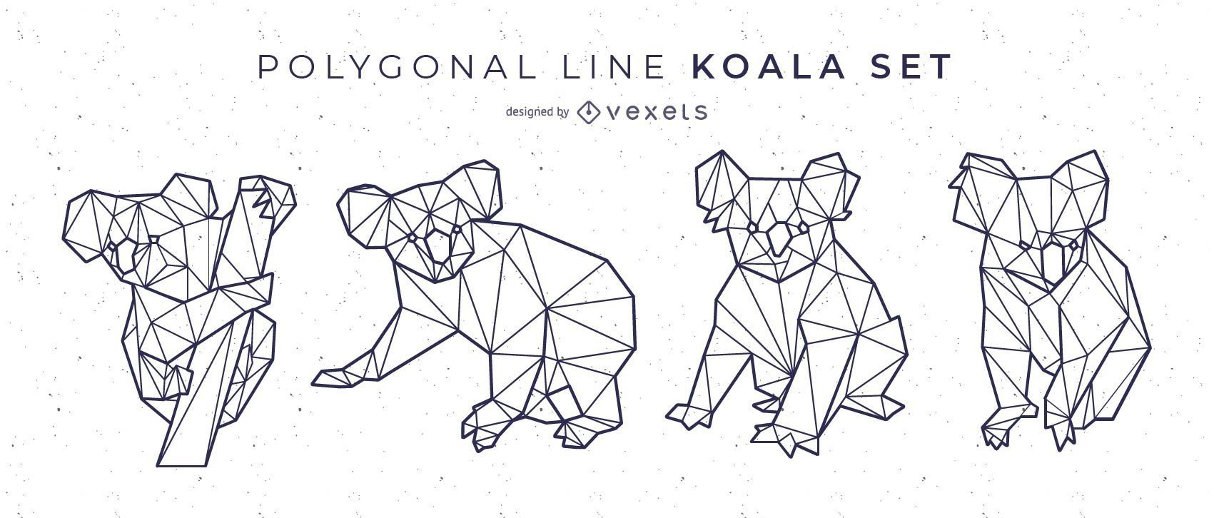 Polygonal Line Koala Set