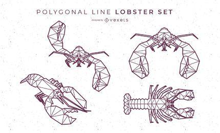 Conjunto de lagosta de linha poligonal