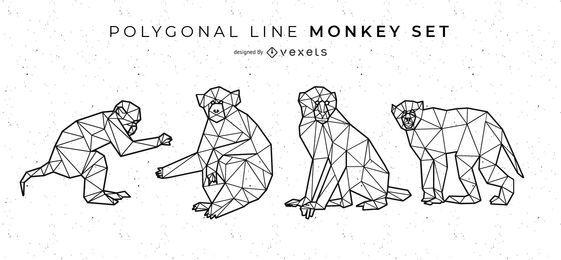 Conjunto de mono de línea poligonal