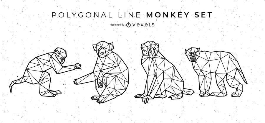 Conjunto de Macaco Linha Poligonal