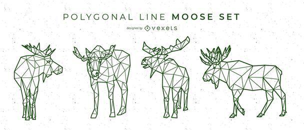 Diseño de alces de línea poligonal