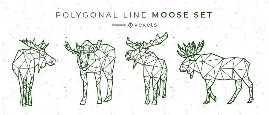 Polygonale Linie Elch Design