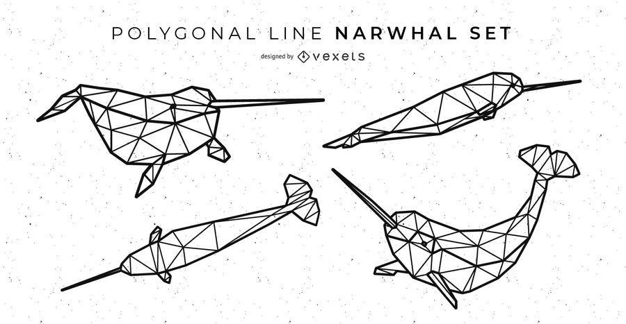 Polygonale Linie Narwal Set