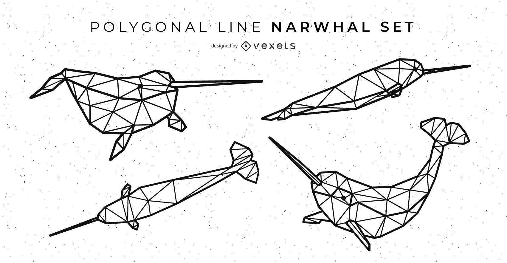Polygonal Line Narwhal Set