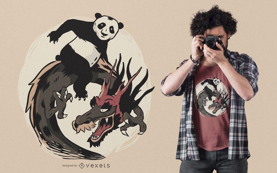 Diseño de camiseta panda dragón montando