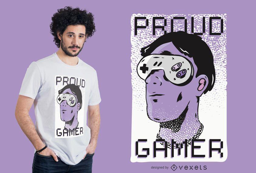 Design orgulhoso do t-shirt do Gamer