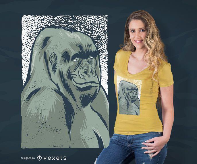 Diseño de camiseta de gorila sonriente