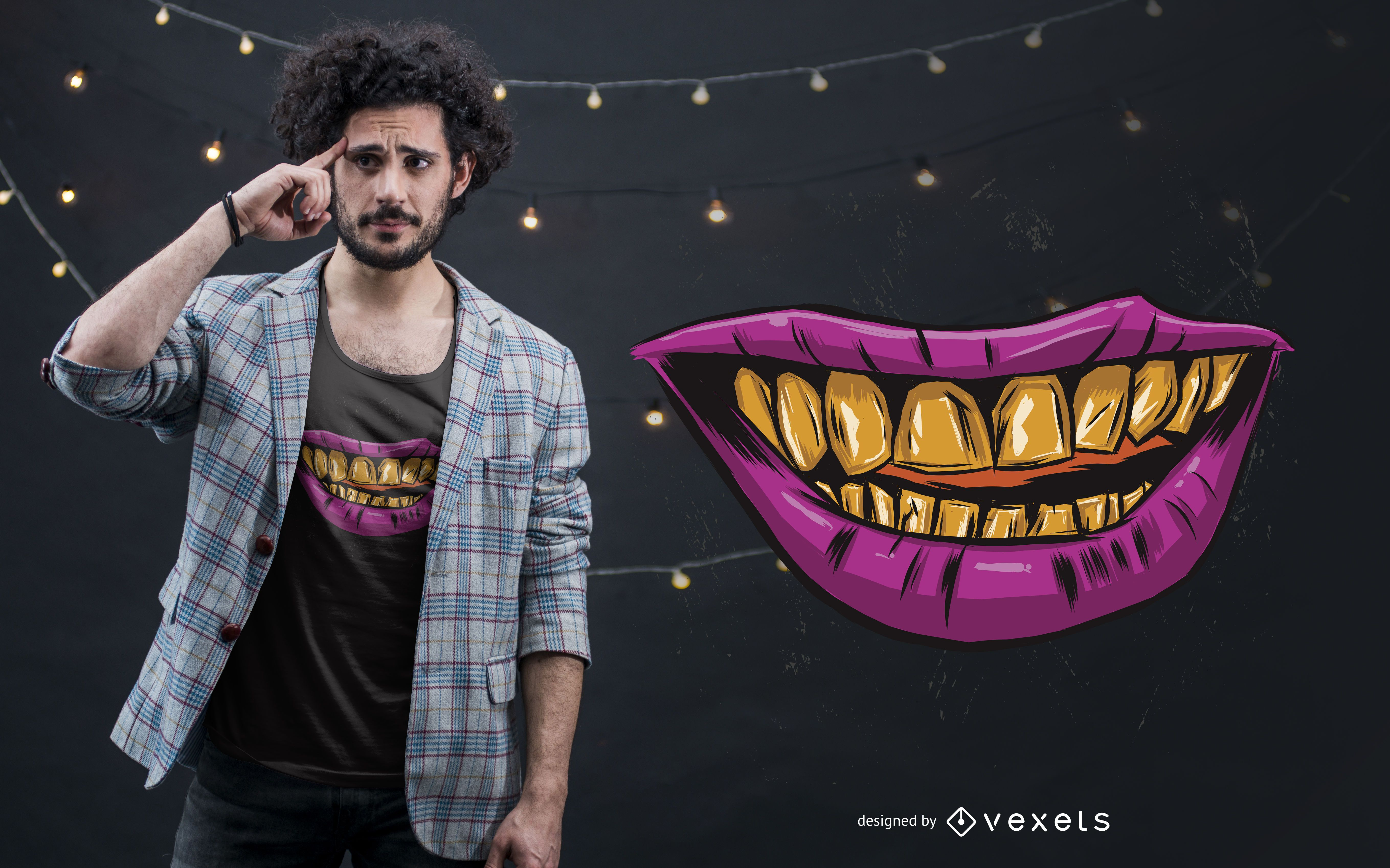 Diseño de camiseta Golden Smile