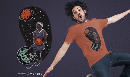Projeto do t-shirt de Basketballer do espaço de Outta