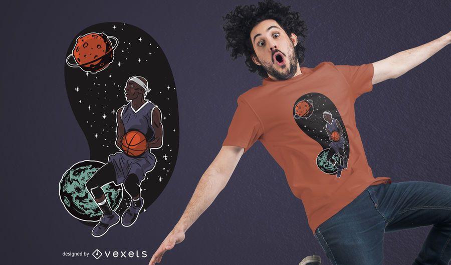 Outta Space Basketballer T-shirt Design