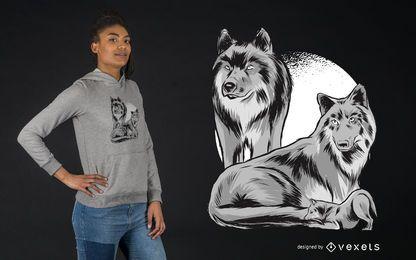 Projeto do t-shirt do bloco da família do lobo