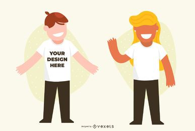 Maquete de casal de design de t-shirt