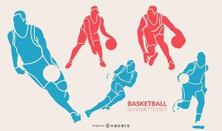 Conjunto de silhueta colorida de jogadores de basquete