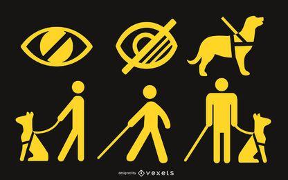 Conjunto de silueta de símbolos ciegos