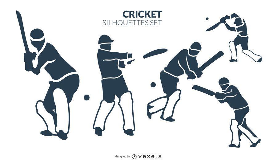 Cricket silhouette set